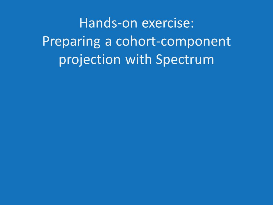 Hands-on exercise: Preparing a cohort-component projection with Spectrum