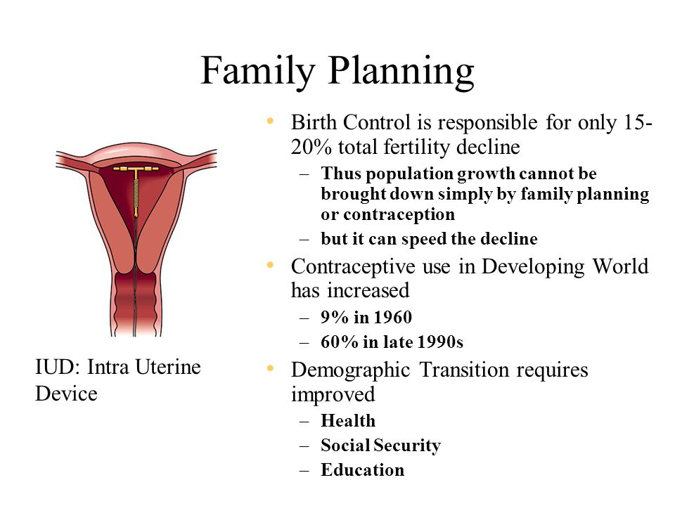Family Planning Birth Control is responsible for only 15- 20% total fertility decline –Thus population growth cannot be brought down simply by family planning or contraception –but it can speed the decline Contraceptive use in Developing World has increased –9% in 1960 –60% in late 1990s Demographic Transition requires improved –Health –Social Security –Education IUD: Intra Uterine Device