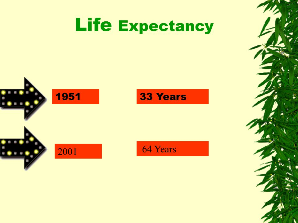 1951 2001 33 Years 64 Years Life Expectancy