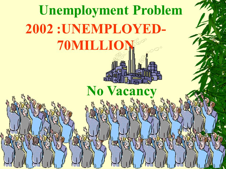 Unemployment Problem No Vacancy 2002 :UNEMPLOYED- 70MILLION