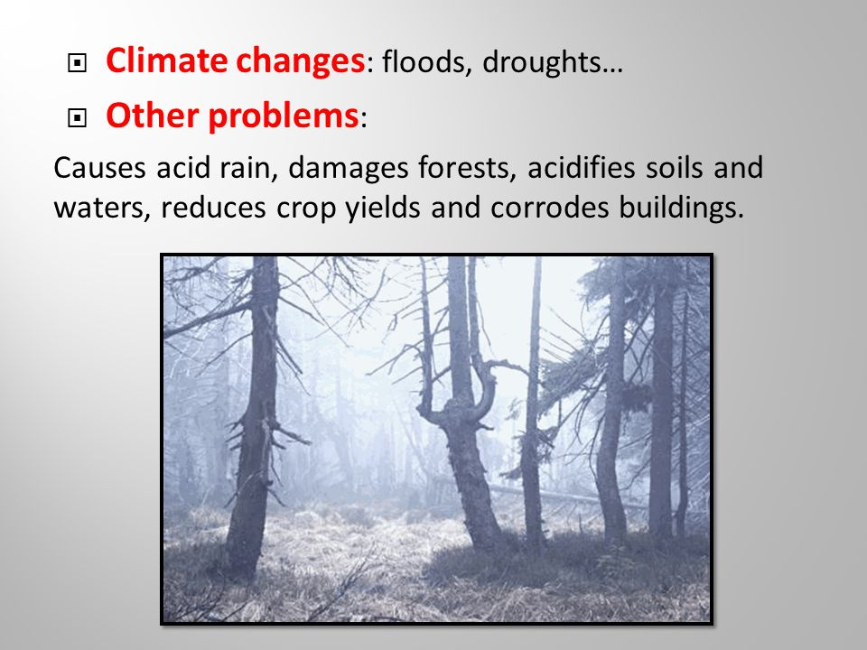  Climate changes : floods, droughts…  Other problems : Causes acid rain, damages forests, acidifies soils and waters, reduces crop yields and corrodes buildings.