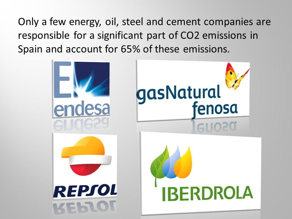 Only a few energy, oil, steel and cement companies are responsible for a significant part of CO2 emissions in Spain and account for 65% of these emissions.