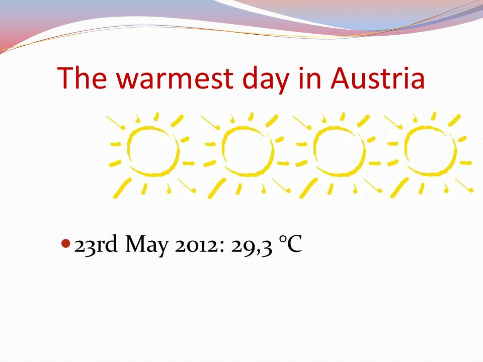 The warmest day in Austria 23rd May 2012: 29,3 °C