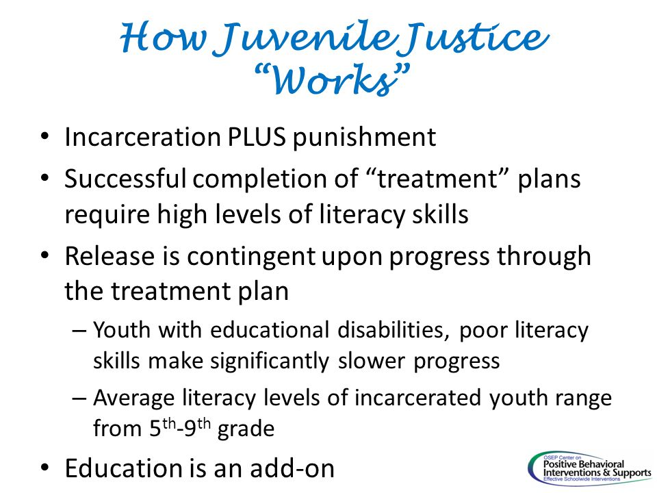 How Juvenile Justice Works Incarceration PLUS punishment Successful completion of treatment plans require high levels of literacy skills Release is contingent upon progress through the treatment plan – Youth with educational disabilities, poor literacy skills make significantly slower progress – Average literacy levels of incarcerated youth range from 5 th -9 th grade Education is an add-on