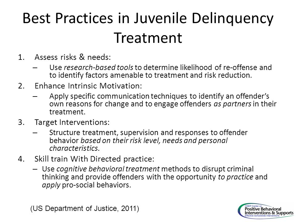 Best Practices in Juvenile Delinquency Treatment 1.Assess risks & needs: – Use research-based tools to determine likelihood of re-offense and to identify factors amenable to treatment and risk reduction.