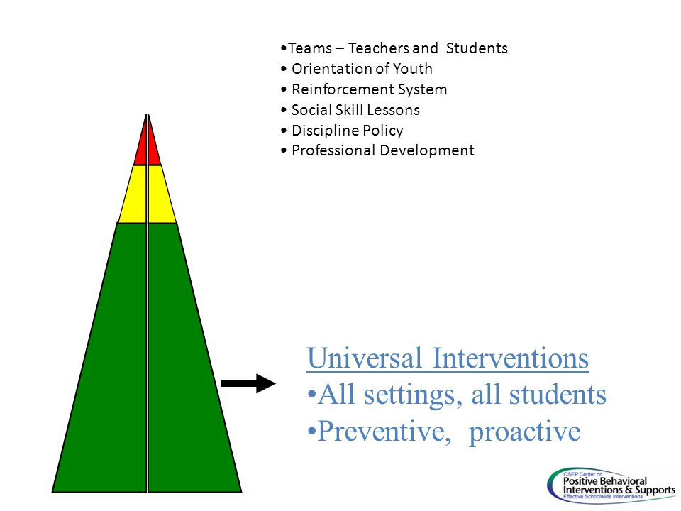 Universal Interventions All settings, all students Preventive, proactive Teams – Teachers and Students Orientation of Youth Reinforcement System Social Skill Lessons Discipline Policy Professional Development