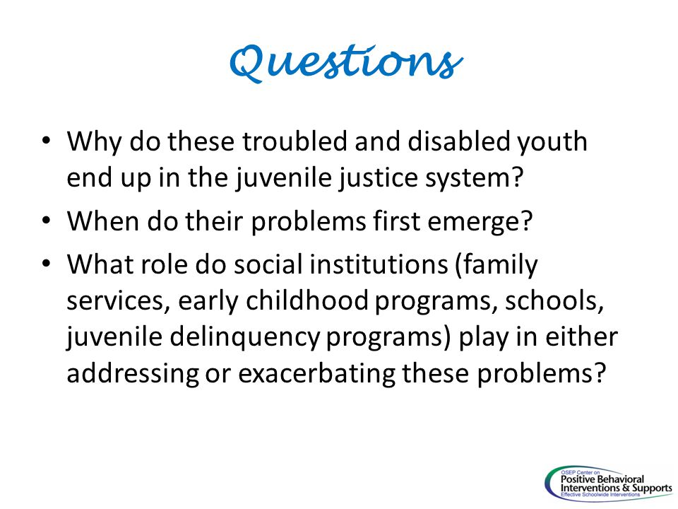 Questions Why do these troubled and disabled youth end up in the juvenile justice system.