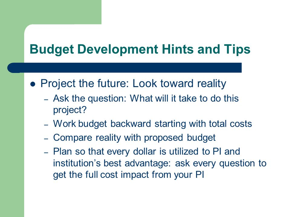 Budget Development Hints and Tips Project the future: Look toward reality – Ask the question: What will it take to do this project.