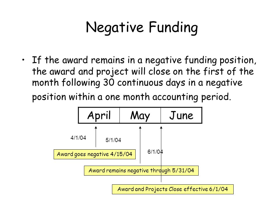If the award remains in a negative funding position, the award and project will close on the first of the month following 30 continuous days in a negative position within a one month accounting period.