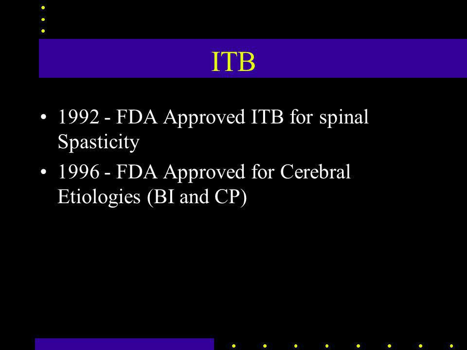 ITB 1992 - FDA Approved ITB for spinal Spasticity 1996 - FDA Approved for Cerebral Etiologies (BI and CP)