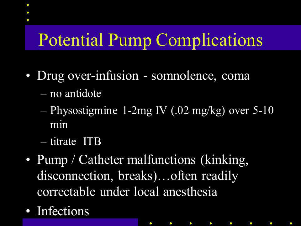 Potential Pump Complications Drug over-infusion - somnolence, coma –no antidote –Physostigmine 1-2mg IV (.02 mg/kg) over 5-10 min –titrate ITB Pump / Catheter malfunctions (kinking, disconnection, breaks)…often readily correctable under local anesthesia Infections