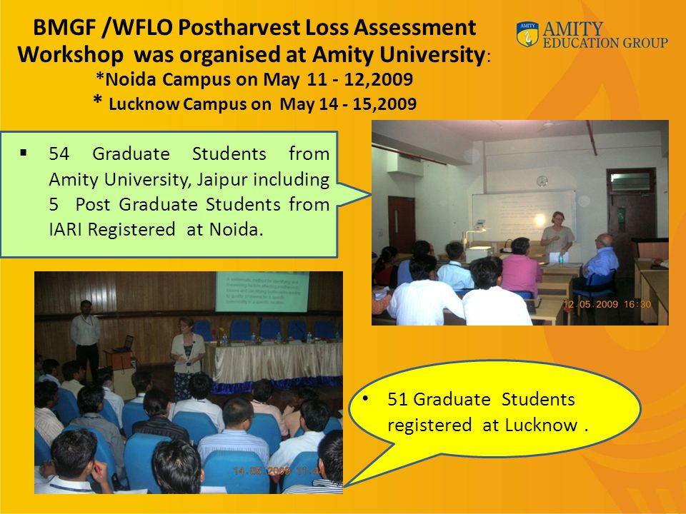 54 Graduate Students from Amity University, Jaipur including 5 Post Graduate Students from IARI Registered at Noida.