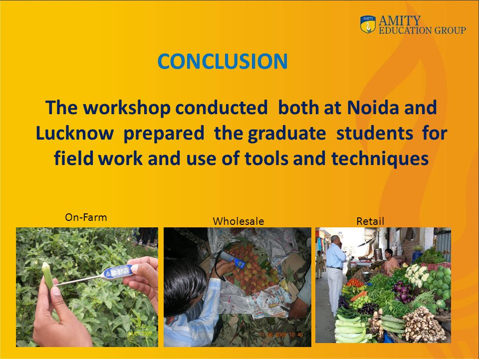 CONCLUSION On-Farm WholesaleRetail The workshop conducted both at Noida and Lucknow prepared the graduate students for field work and use of tools and techniques