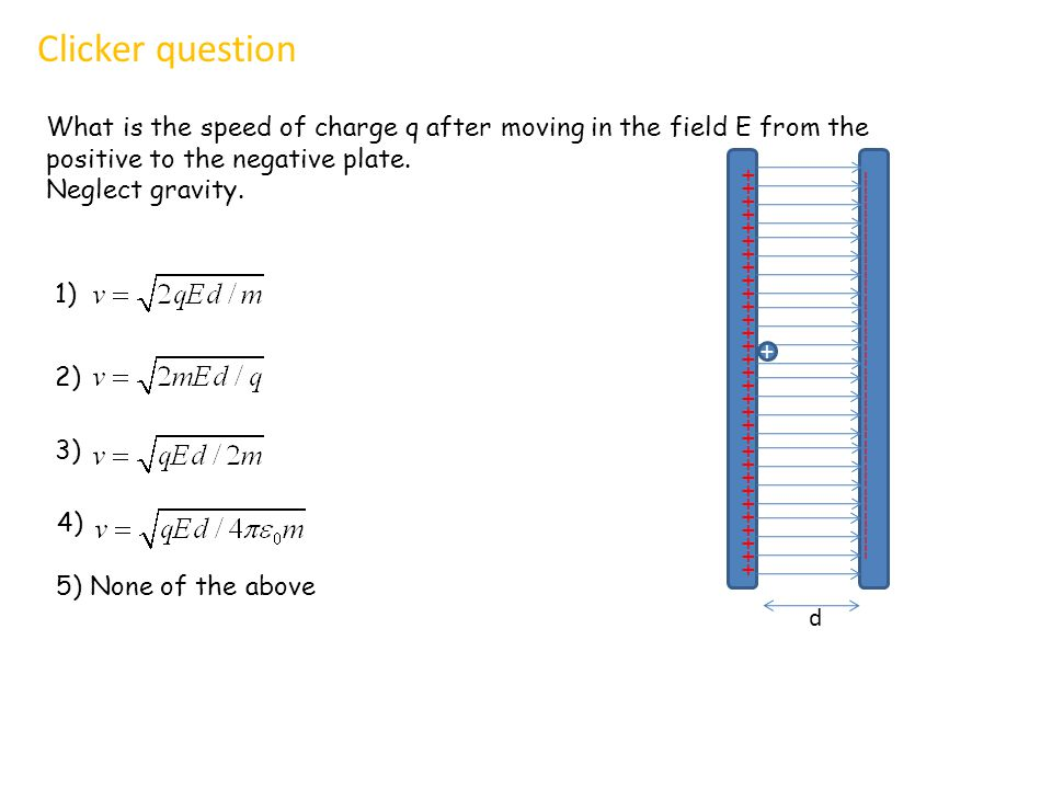 What is the speed of charge q after moving in the field E from the positive to the negative plate.