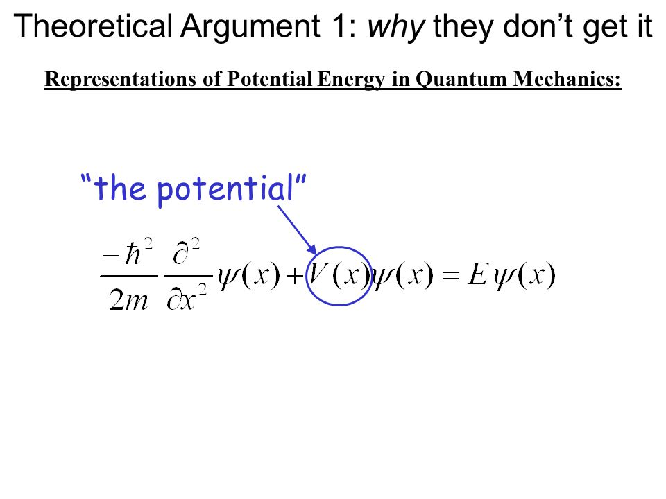 Representations of Potential Energy in Quantum Mechanics: Very familiar:Very familiar: the potential Theoretical Argument 1: why they don't get it