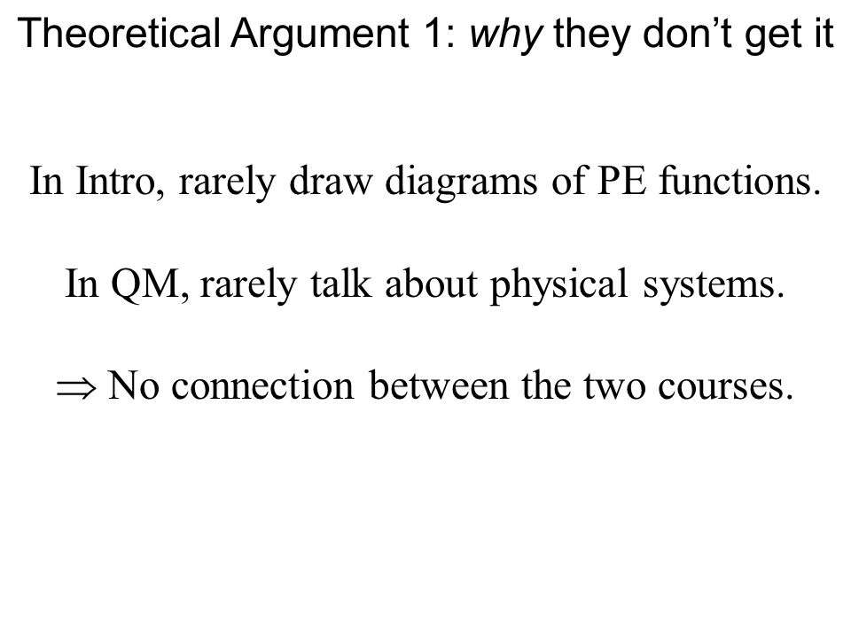 In Intro, rarely draw diagrams of PE functions. In QM, rarely talk about physical systems.