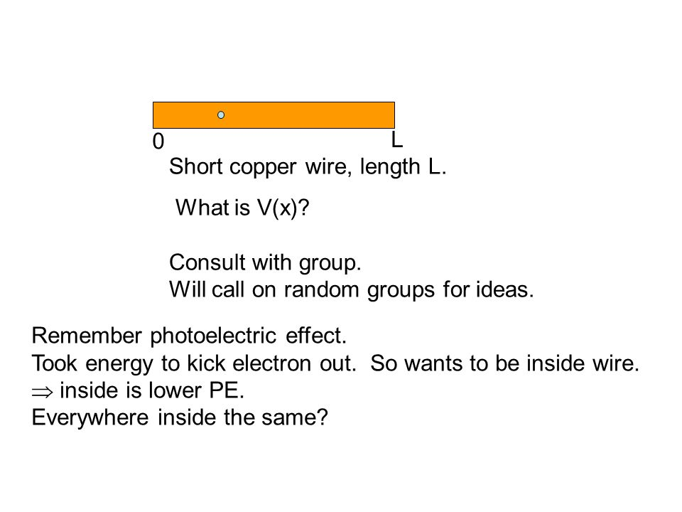 Short copper wire, length L. What is V(x). Consult with group.