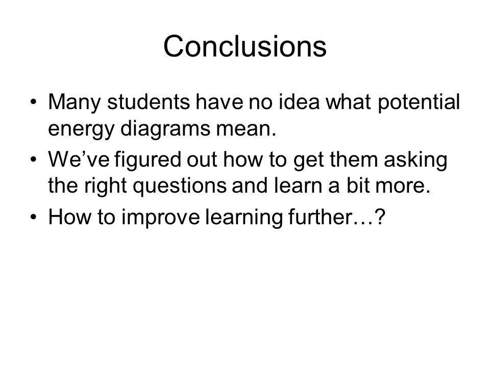 Conclusions Many students have no idea what potential energy diagrams mean.