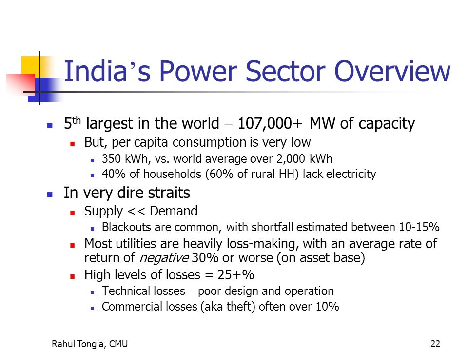 Rahul Tongia, CMU22 India ' s Power Sector Overview 5 th largest in the world – 107,000+ MW of capacity But, per capita consumption is very low 350 kWh, vs.