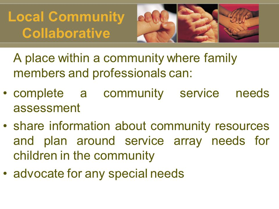 Local Community Collaborative A place within a community where family members and professionals can: complete a community service needs assessment share information about community resources and plan around service array needs for children in the community advocate for any special needs