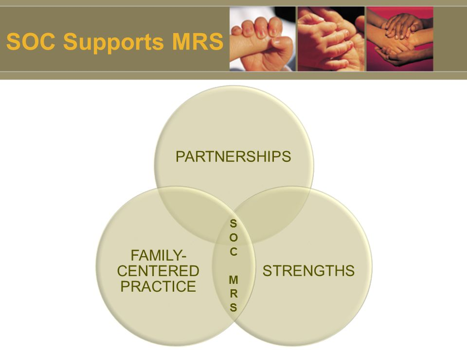 SOC Supports MRS PARTNERSHIPS STRENGTHS FAMILY- CENTERED PRACTICE SOCMRSSOCMRS