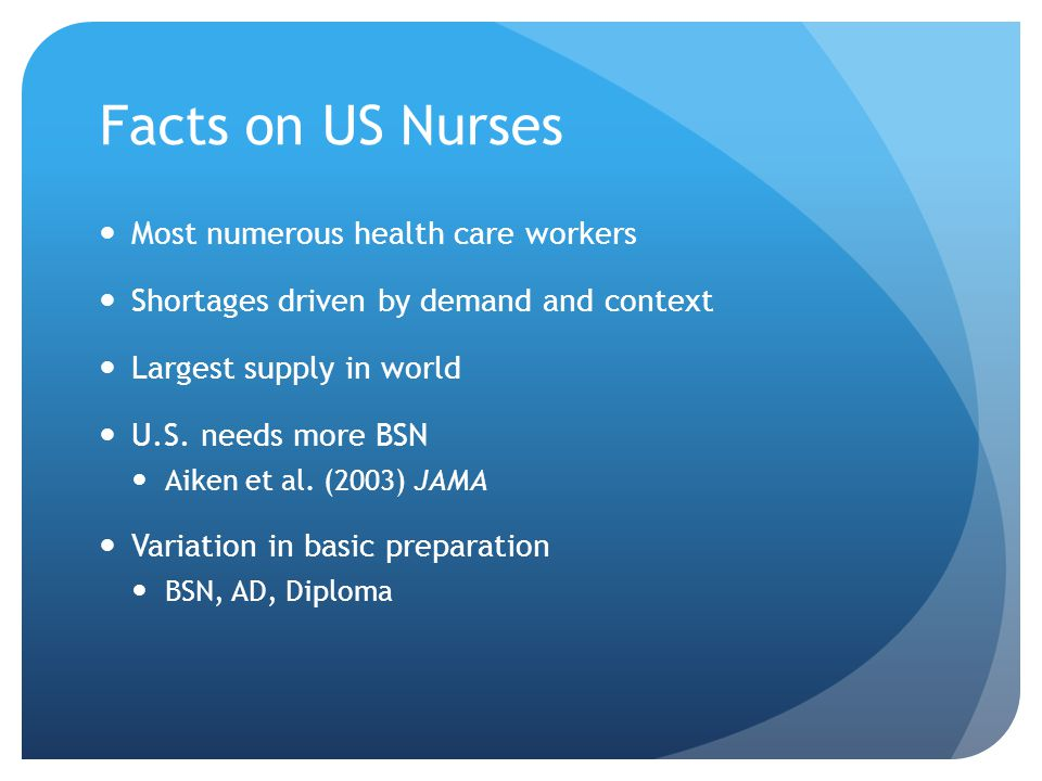 Facts on US Nurses Most numerous health care workers Shortages driven by demand and context Largest supply in world U.S.