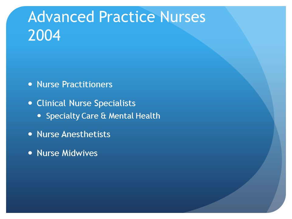 Advanced Practice Nurses 2004 Nurse Practitioners Clinical Nurse Specialists Specialty Care & Mental Health Nurse Anesthetists Nurse Midwives
