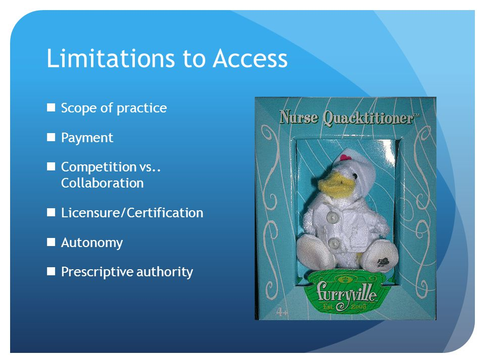 Limitations to Access Scope of practice Payment Competition vs..