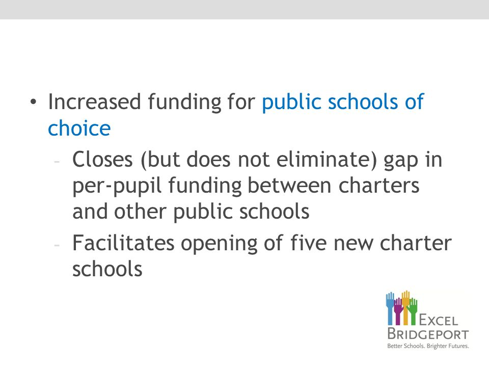 Increased funding for public schools of choice - Closes (but does not eliminate) gap in per-pupil funding between charters and other public schools - Facilitates opening of five new charter schools