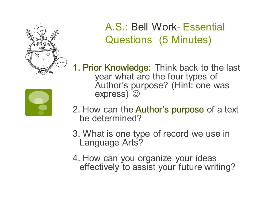 A.S.: Bell Work- Essential Questions (5 Minutes)