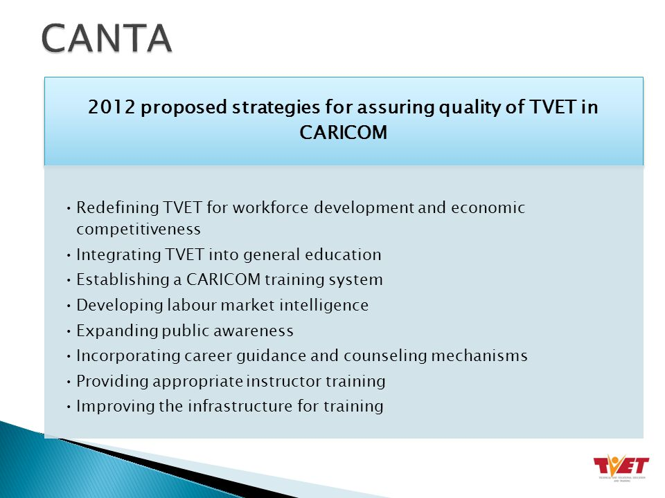 2012 proposed strategies for assuring quality of TVET in CARICOM Redefining TVET for workforce development and economic competitiveness Integrating TVET into general education Establishing a CARICOM training system Developing labour market intelligence Expanding public awareness Incorporating career guidance and counseling mechanisms Providing appropriate instructor training Improving the infrastructure for training