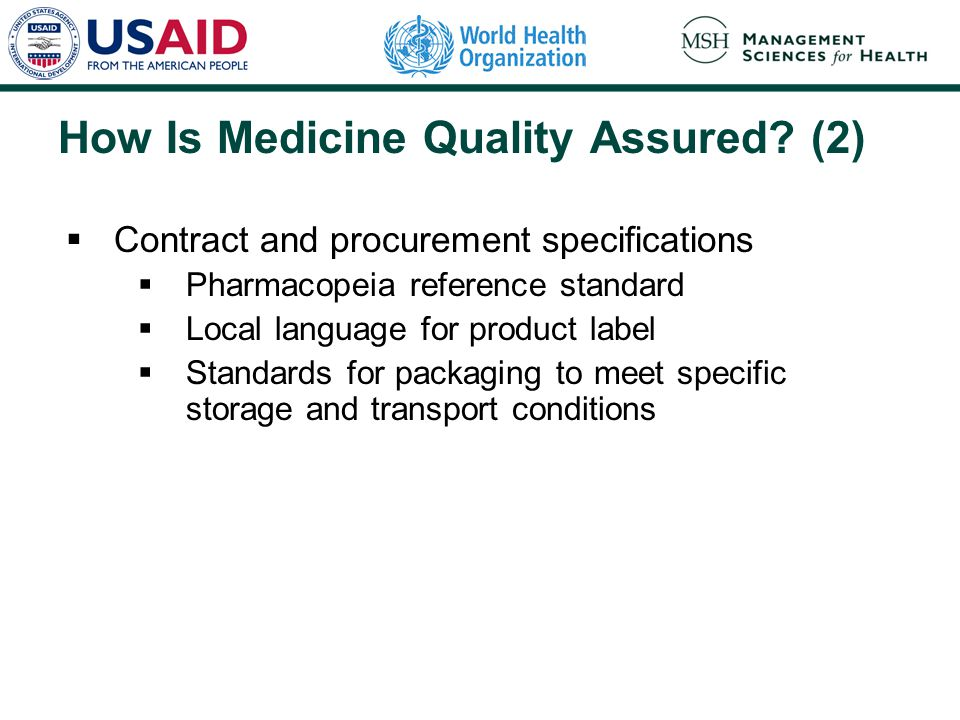 How Is Medicine Quality Assured.