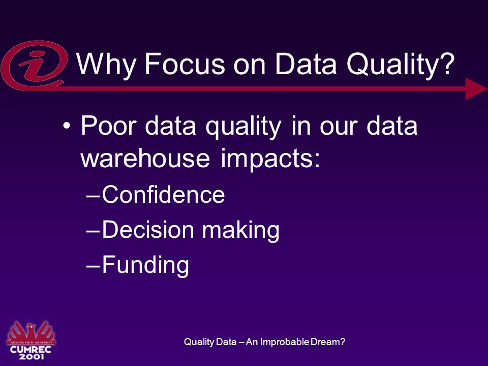 Quality Data – An Improbable Dream. Why Focus on Data Quality.