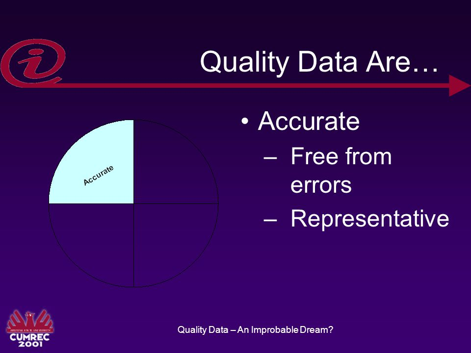 Quality Data – An Improbable Dream Quality Data Are… Accurate –Free from errors –Representative