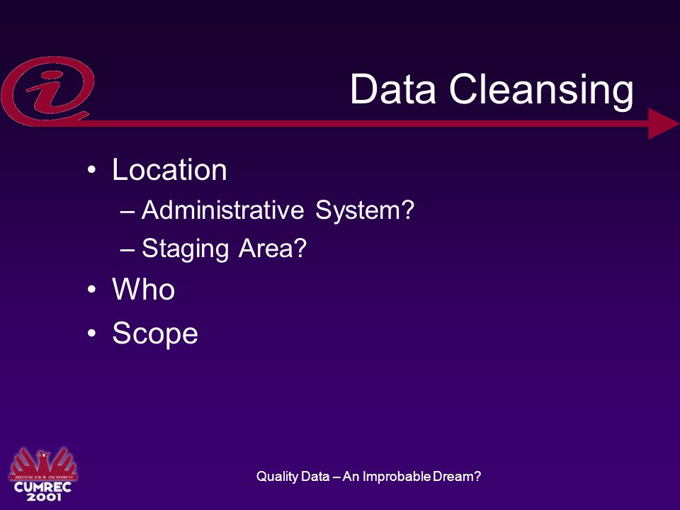 Quality Data – An Improbable Dream. Data Cleansing Location –Administrative System.