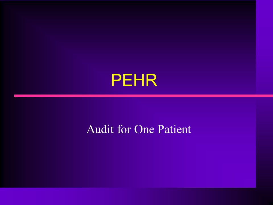 PEHR Audit for One Patient