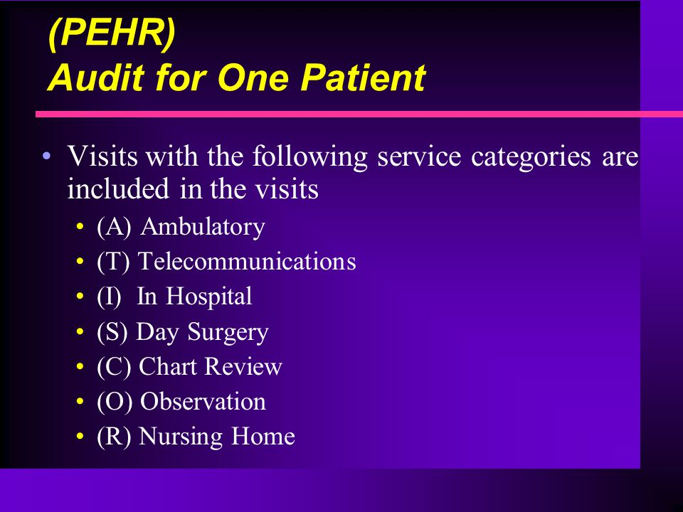 (PEHR) Audit for One Patient Visits with the following service categories are included in the visits (A) Ambulatory (T) Telecommunications (I) In Hospital (S) Day Surgery (C) Chart Review (O) Observation (R) Nursing Home