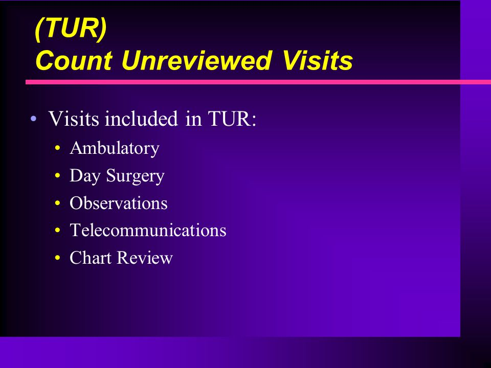 Visits included in TUR: Ambulatory Day Surgery Observations Telecommunications Chart Review (TUR) Count Unreviewed Visits