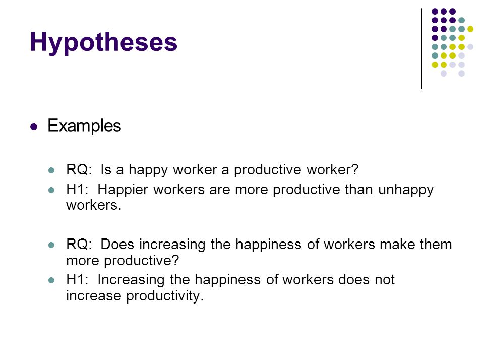 Hypotheses Examples RQ: Is a happy worker a productive worker.