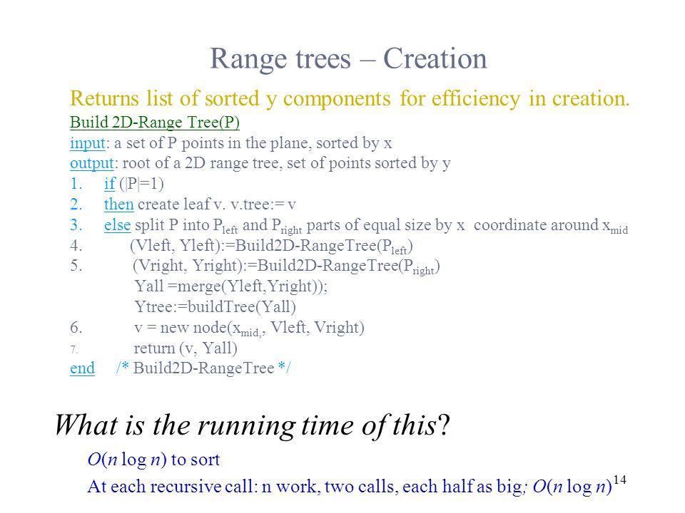 14 Range trees – Creation Returns list of sorted y components for efficiency in creation.