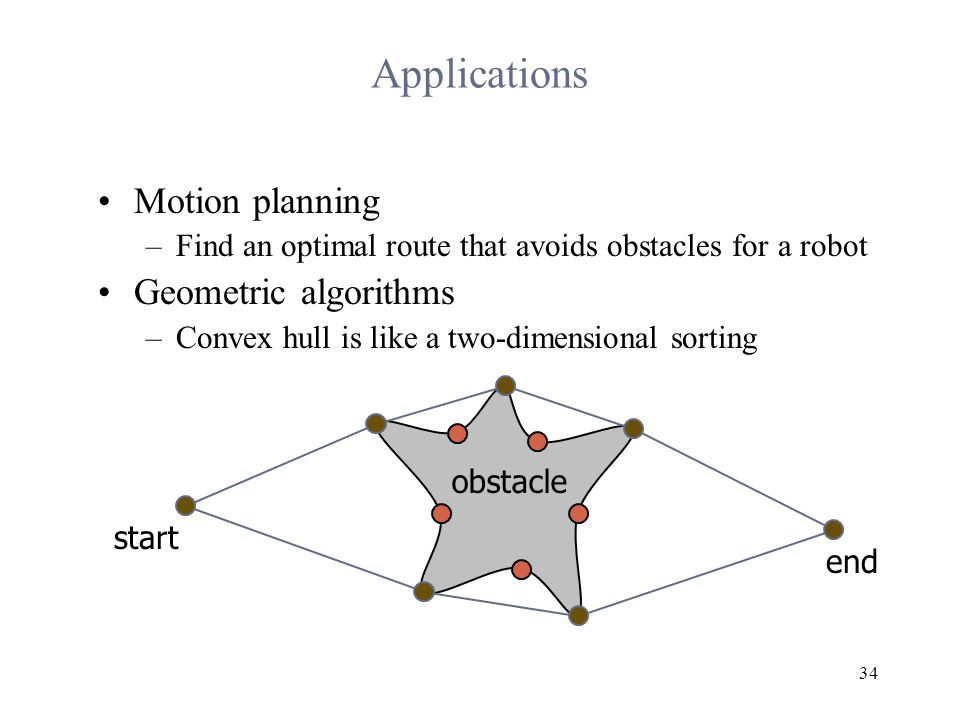34 Applications Motion planning –Find an optimal route that avoids obstacles for a robot Geometric algorithms –Convex hull is like a two-dimensional sorting obstacle start end