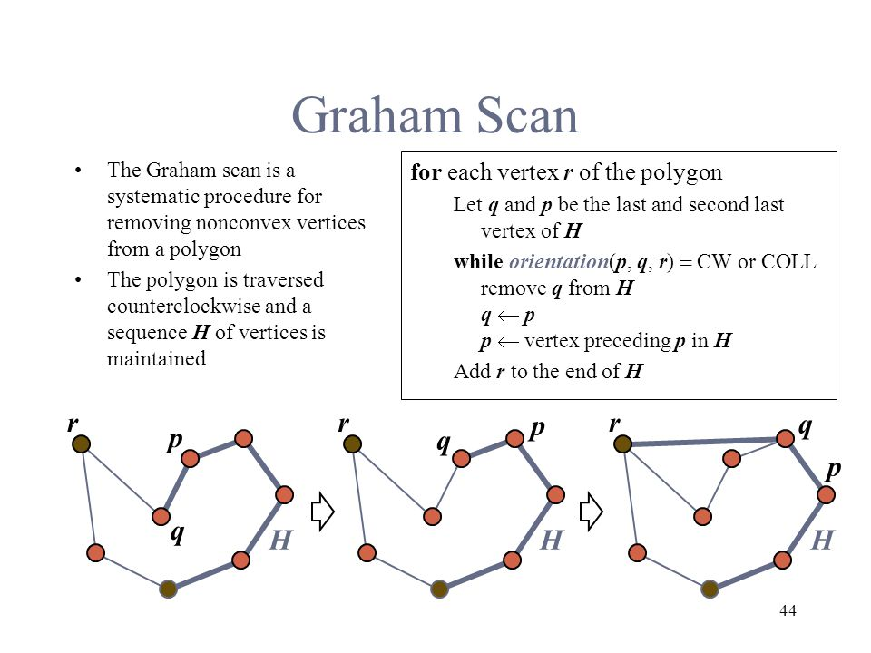 44 Graham Scan The Graham scan is a systematic procedure for removing nonconvex vertices from a polygon The polygon is traversed counterclockwise and a sequence H of vertices is maintained for each vertex r of the polygon Let q and p be the last and second last vertex of H while orientation(p, q, r)  CW or COLL remove q from H q  p p  vertex preceding p in H Add r to the end of H p q r H p q r H p q r H