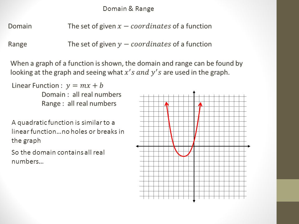 Domain & Range A quadratic function is similar to a linear function…no holes or breaks in the graph So the domain contains all real numbers…
