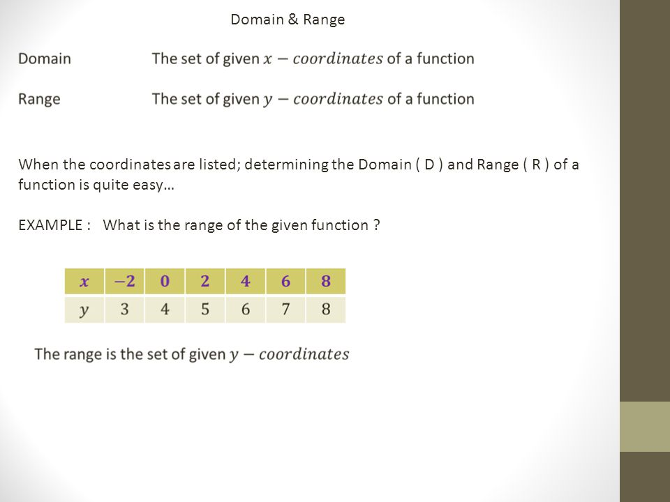 Domain & Range When the coordinates are listed; determining the Domain ( D ) and Range ( R ) of a function is quite easy… EXAMPLE : What is the range of the given function