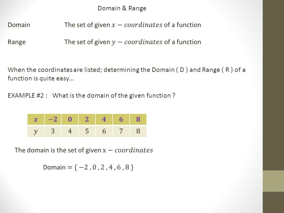 Domain & Range When the coordinates are listed; determining the Domain ( D ) and Range ( R ) of a function is quite easy… EXAMPLE #2 : What is the domain of the given function