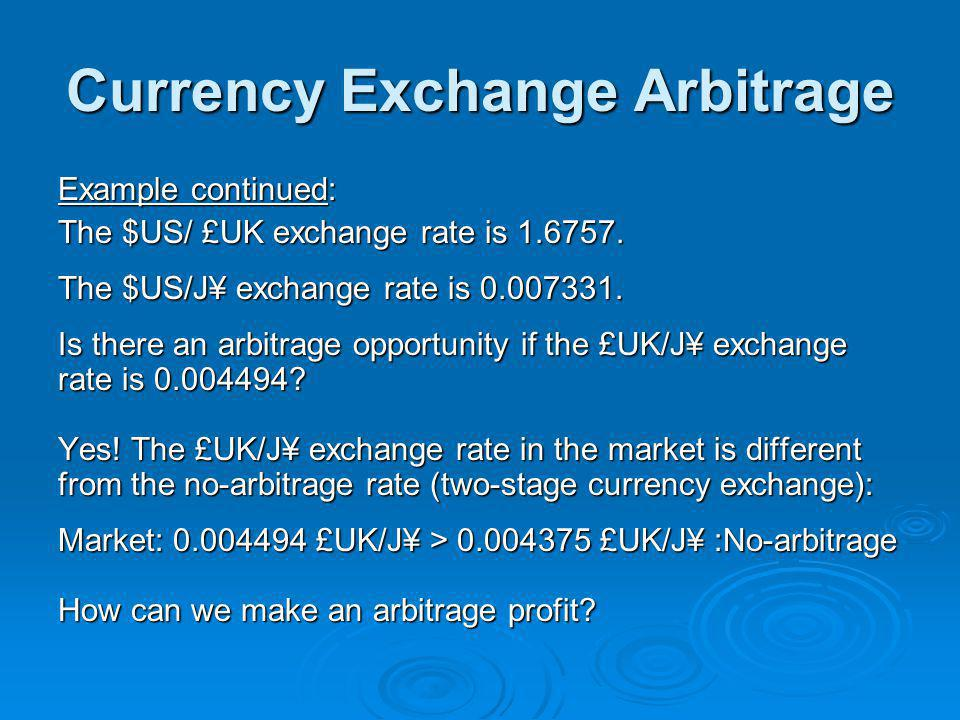 Currency Exchange Arbitrage Example continued: The $US/ £UK exchange rate is 1.6757.