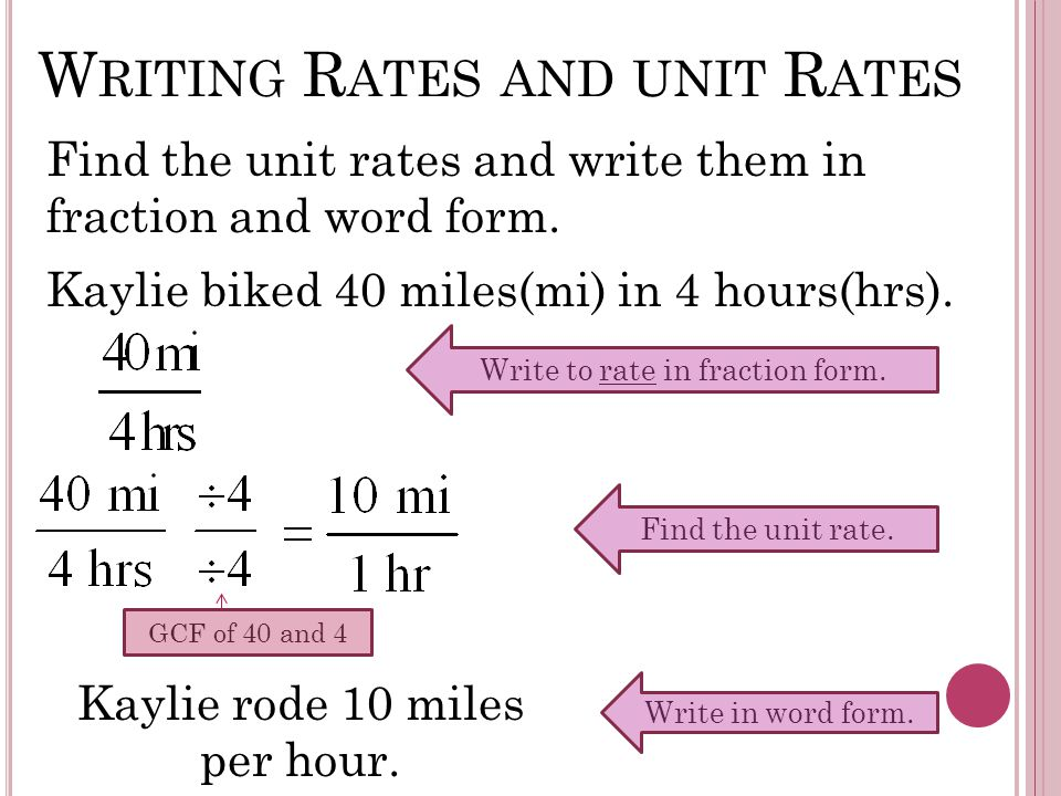 W RITING R ATES AND UNIT R ATES Find the unit rates and write them in fraction and word form.