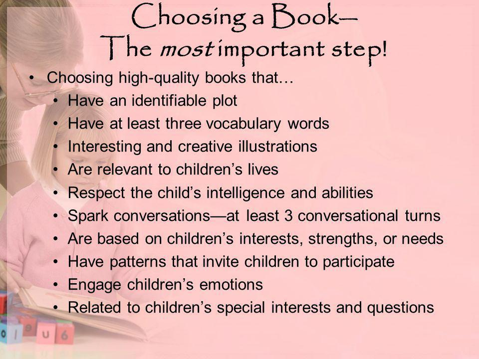 Choosing a Book— The most important step .