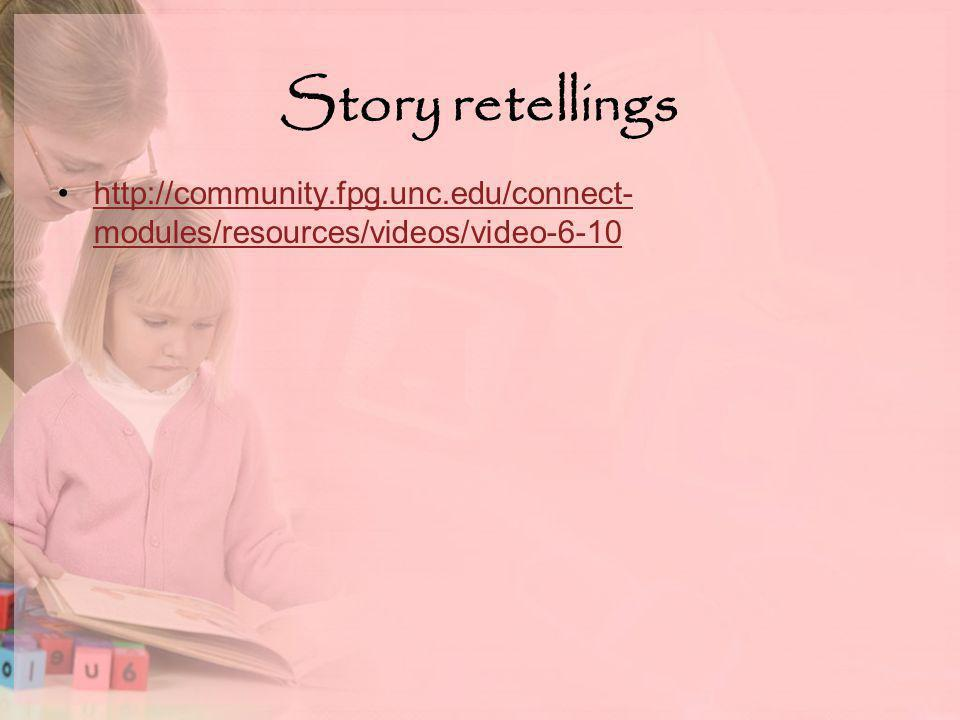 Story retellings http://community.fpg.unc.edu/connect- modules/resources/videos/video-6-10http://community.fpg.unc.edu/connect- modules/resources/videos/video-6-10
