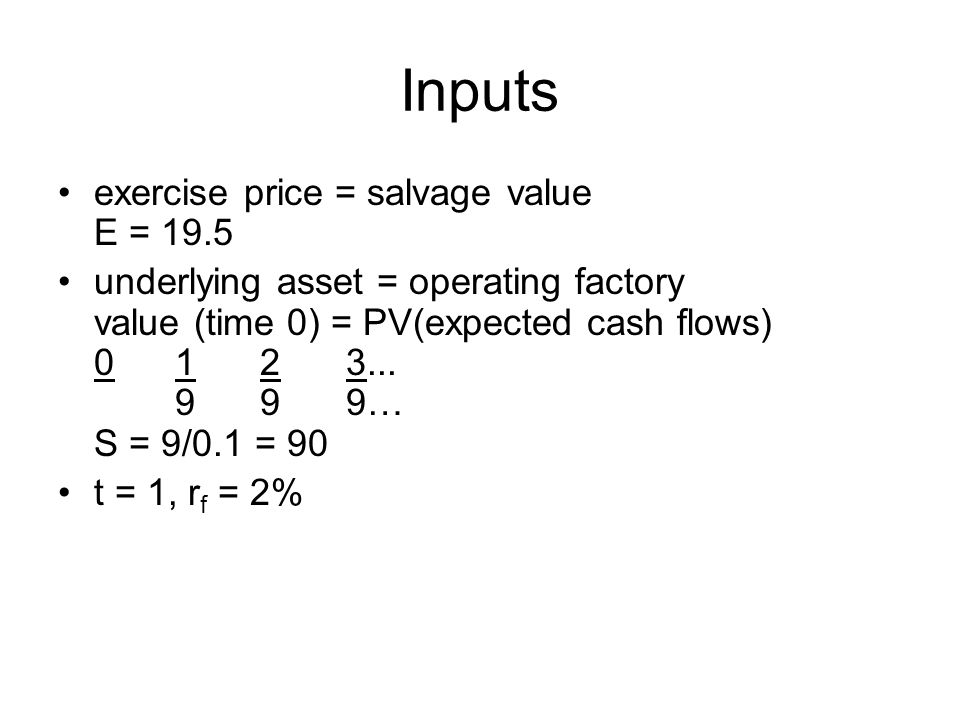 Inputs exercise price = salvage value E = 19.5 underlying asset = operating factory value (time 0) = PV(expected cash flows) 0 1 23...
